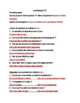 Pronoun Y : practice sheets