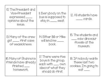 Pronoun and Antecedent Agreement Task Cards