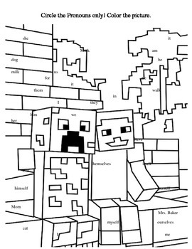 Pronoun and Antecedent Minecraft