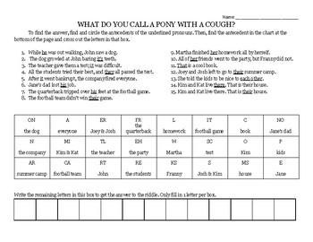 Pronoun and Antecedent Practice Worksheet