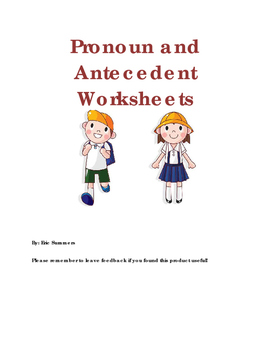 Pronoun and Antecedent Worksheets for Third Grade and Above