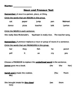 Pronoun and Noun Quiz/Practice/Review