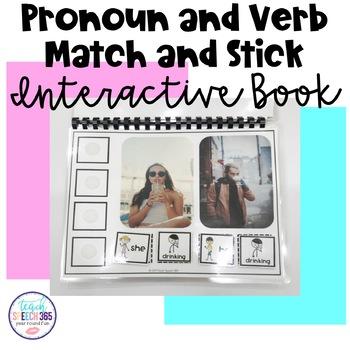 Pronoun and Verb Match and Stick Interactive Book