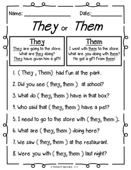 Pronoun... and other mixed up words fill-ins