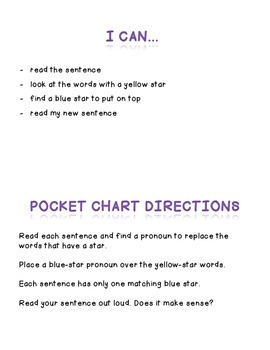 Pronoun pocket chart matching and worksheet