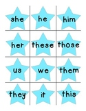 Pronoun pocket chart matching and worksheet