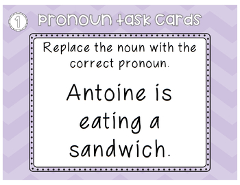 Pronoun task cards / queue cards / ESL