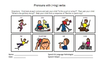 Pronoun visual cues with home practice
