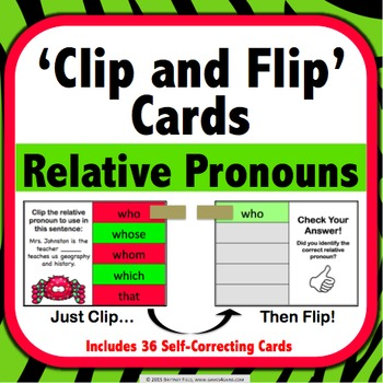 Relative Pronouns Task Cards (Clip and Flip)