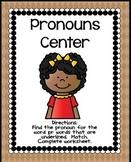 Pronouns Worksheet   Pronouns Center