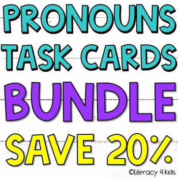 Pronouns Task Cards $$$ Savings BUNDLE for Grades 2-3 (Boom Cards Added!)