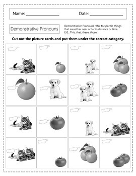 Demonstrative Pronouns Worksheets