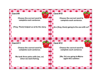 Pronouns - 24  Task Cards for Grades 2-3-Apple Theme
