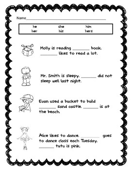 Pronouns 6 Worksheets to help Eliminate Pronoun Reversals: he/she, his/her