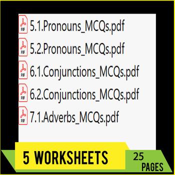 Pronouns, Adverbs, Conjunctions - ELA Grammar Worksheets - MCQ TESTS | Gr 9-10