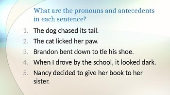 Pronouns & Antecedents