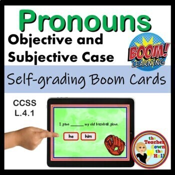 Pronouns -BOOM Cards! (24 Self-checking Cards) Objective or Subjective Practice!