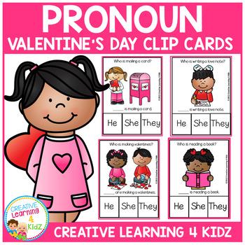 Pronoun Clip Cards: Valentine's Day
