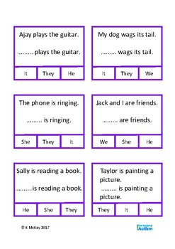 Pronouns Grammar Clip Cards Autism Special Education Speech ESL