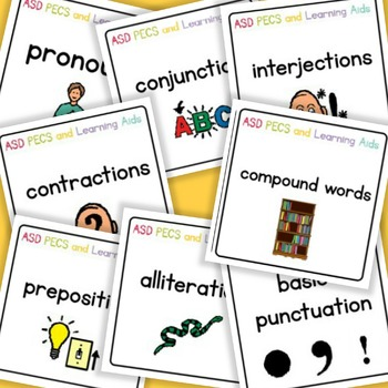 Pronouns, Conjunctions, Interjections, Prepositions, Alliterations - Boardmaker