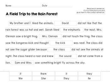 Pronouns {Cut & Paste} for Storytown Lesson 14