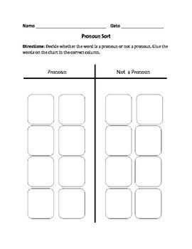 Pronouns: Cut, Sort, & Paste Activity