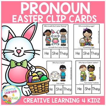 Pronoun Clip Cards: Easter