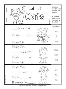 Pronouns First Grade Grammar by Angela Dansie   TpT