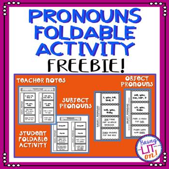 FREEBIE! Pronouns Foldable Activity