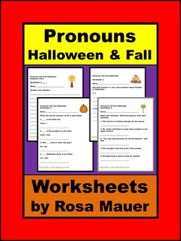 Pronouns Halloween and Fall Worksheets