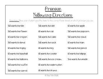 Pronouns He, She, Him, Her- Following Directions Bear
