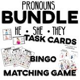 Pronouns He She They BUNDLE- BINGO Task Cards Matching Game