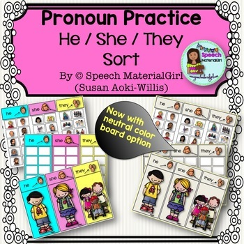 Speech Therapy Pronouns He She They Sorting Activity Boardmaker icons Autism