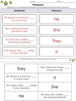 Pronouns: He, She, They, and It Cut and Paste Activity - King Virtue's Classroom