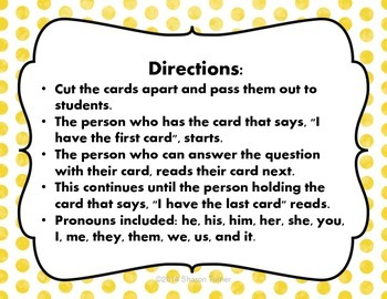 Pronouns: I HAVE/WHO HAS? Set of 18 cards {Spring Theme!}