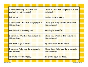 Pronouns Game - I Have Who Has {Differentiated}