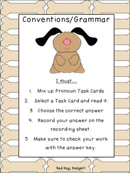 Pronouns- I and Me Reading Street Grammar Task Cards Grade 2
