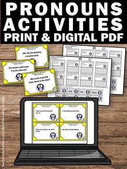 Subject Pronouns, Object Pronouns Task Cards, 1st Grade Grammar Activities