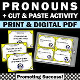 Subject and Object Pronouns Task Cards, Pronoun Worksheets