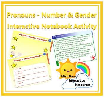 Interactive Pronouns - Number & Gender Activity for IWB