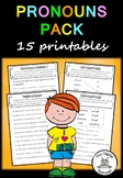 Pronouns Pack (Parts of Speech) - 15+ worksheets