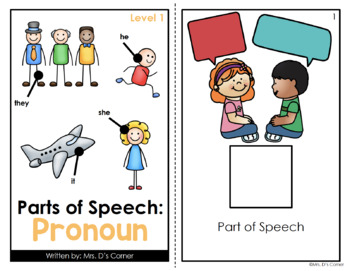 Pronouns Parts of Speech Adapted Book [Level 1 and Level 2] | Pronoun Book
