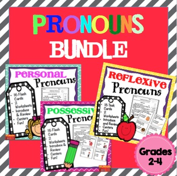 Pronouns (Personal, Possessive, Reflexive) Bundle Task Cards Grades 2-4