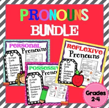 Pronouns (Personal, Possessive, Reflexive) Bundle Task Cards Grades 2-4