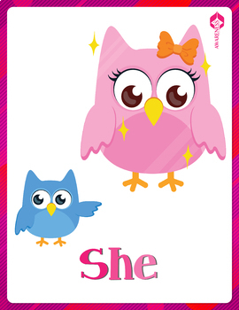 Subject Pronouns Posters and Cards: Owl Themed Freebie