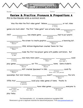 Pronouns & Prepositions Review Pack - The Grammarheads