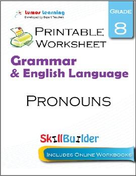 Pronouns Printable Worksheet, Grade 8
