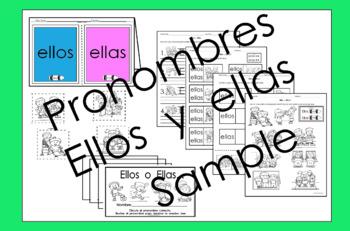 Pronouns Pronombres Ellos & Ellas in Spanish only activities