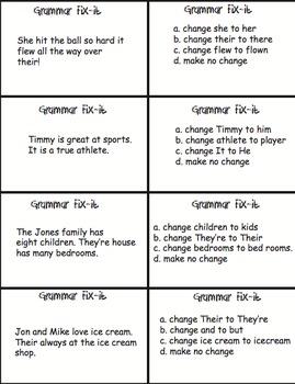 Pronouns Quiz Cards