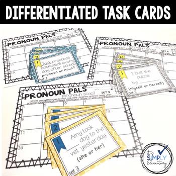 Pronoun activities, task cards, and flip flap resources